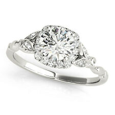 1.33 CT ROUND MOISSANITE FOREVER ONE & DIAMOND ANTIQUE ENGAGEMENT RING