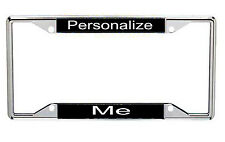 Personalized License Frames Black Background With White Letters Every State