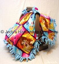 DISNEY PRINCESS/ BLUE FLEECE/ INFANT/ BABY CARSEAT CANOPY/ TENT/ COVER- HANDMADE