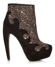 New Jeffrey Campbell Grammer black suede ankle boots UK6,5  RRP £195