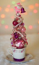 Vintage PINK Christmas Bottle Brush Tree w/ Antique Ornament Jewelry Decoration