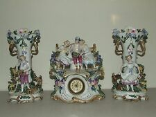 Antique 19th C. German Porcelain Ceramic 3 Piece Mantel Shelf Clock Vase Urn Set