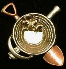 gold pan pin with pick and shovel and nugget prospector miner