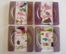 Coasters Amethyst Fused Glass Handmade Confetti Purple Pink Set of 4 New Gift