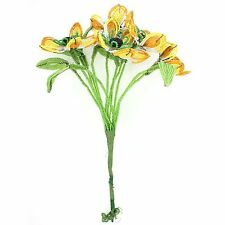 VINTAGE Black-Eye Susan French Glass Beaded Bunch Bouquet 5 Buds Yellow Orange