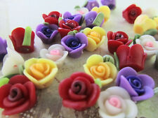 40 Color Fimo Clay 4D Rose Flower Flatback/bead/beading/Craft/Rosebud B60-Mix