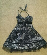 Hot Topic Steampunk Music Note Piano LaceUp Tulle Underskirt Halter Strap Dress