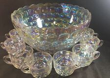 Iridescent Clear Carnival Glass Punch Bowl & 8 Glasses Mugs Cups VTG MCM