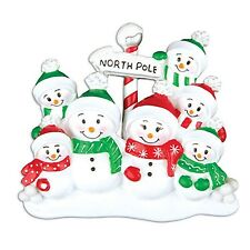 North Pole Family of 7 Personalized Christmas Tree Ornament X-mass Noel Winter