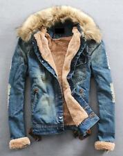 Men's Warm Fur Collar Denim Jacket Fleece Thick Padded Coat Outwear Parka