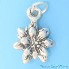 BLOOMING EDELWEISS FLOWER 3D .925 Solid Sterling Silver Charm Pendant USA MADE