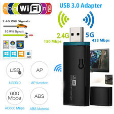 600 Mbps Dual Band 2.4/5Ghz AC USB Wireless WiFi Network Adapter 802.11w/Antenna