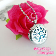 1Set Plain Art craft Hollow Essential oil Diffuser Locket Necklace Free Shipping