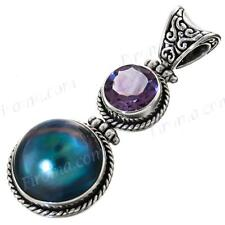 """1 5/8"""" BLUE MABE PEARL AMETHYST 925 STERLING SILVER pendant"""
