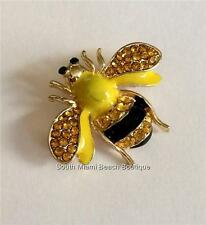 Gold Crystal Bumble Bee Pin Brooch Black Yellow Enamel Insect Bea USA Seller