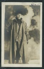 IA Atlantic RPPC '10 MAN POSES in his DRIVING TOGS Mssg!  Have laid up my Wagon
