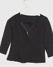 Reißverschluss Blazer Jacke Schwarz Spitze schwarze Jacke Baumwolle 3/4 Ärmel