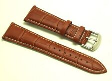 23mm Brown Croco Embossed Leather White Stitching Watch Strap - Free Spring Bars