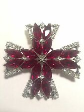 Vintage Signed Weiss Red Cross  Pin Brooch