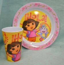 2 PC SET Dora EXPLORER Hola PINK Plate Plastic Cup Meal Time DINNER Yellow NEW