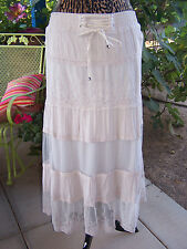 NWT~Pretty Embroidered Crochet & Lace Sheer Gypsy Western Dress or Skirt~M~Lapis