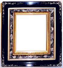 Antique Eastlake Picture Frame Black White Gold Leaf Stacked Abalone Sponge