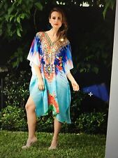 Kaftans Embellished new not see though 14/22 LOOSE FIT aqua sunset January sale