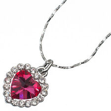 4.26 Ct Heart Cut Style Shape Pink Sapphire CZ 18K White Gold Plated Pendant