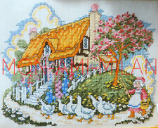 Cross Stitch Chart THATCHED COTTAGE - COUNTRY SCENE - GEESE - Nice to Frame