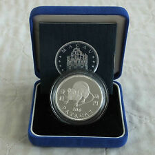 MACAU 1996 LUNAR YEAR OF THE RAT 100 PATACAS SILVER PROOF - boxed/coa