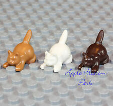 NEW Lego Lot/3 Minifig KITTEN Dark Light Brown White Flesh Boy/Girl Friends Cats