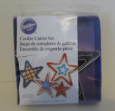 WILTON STAR COOKIE CUTTERS SET OF 4 S. STEEL BAKING & DECORATING SUPPLIES NIP 2