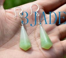 Natural Hetian Nephrite Jade Drop Shape Earrings Jewelry