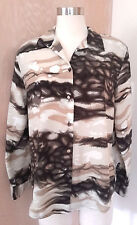 Caviar Beautiful Long Sleeve Ivory Brown Abstract Print Career Blouse M