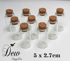 10 x Glass bottles with cork bead container jar 50 x 27mm glass bottle