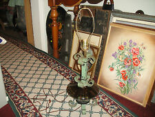 Antique Wrought Iron & Glass Table Lamp-Industrial Look-RARE-Curved Iron
