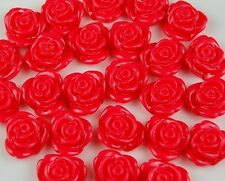 25 Red Flowers Resin Flatbacks Scrapbooking Cabochons Bow Jewelry Making