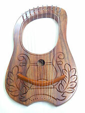 New Engraved Lyre Harp Sheesham wood 10 Metal Strings Free Carrying Case + Key