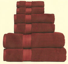MONOGRAMMED 6-PIECES CLARET TOWELS SET TOWELS/ROYAL VELVET/100% EGYPTIAN COTTON
