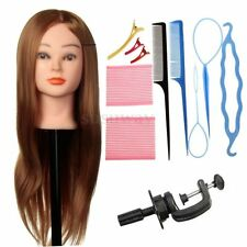 "24"" 30% Real Hair Training Head Hairdressing Mannequin Practice Braid Maker Set"