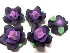 10 Fimo Polymer Clay Beads Flower Rose  Purple Violet  Beads 30mm