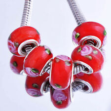 5pcs Red Lampwork Pink Flower Murano Glass European Bead Fit Charm Bracelet