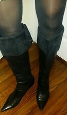 Nine West Black Leather Suede Cuff Knee High Fashion Boots Pointy Toe Low Heel 9