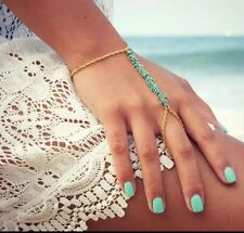 Womens Gold Slave Chain Finger Ring Bangle Hand Harness Bracelet Turquoise Beads
