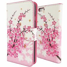 Cute Pink Cherry Blossom PU Leather Wallet Case for Apple iPhone 6 Agenda Cover