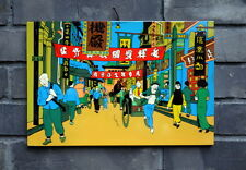 "Chinese lacquer painting The Adventures of Tintin 12x8"" Contemporary wall art"