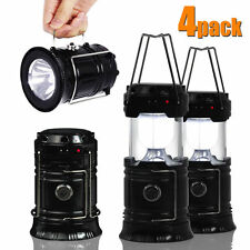 4pcs Collapsible Solar Outdoor Rechargeable Camping Lantern Light LED Hand Lamp