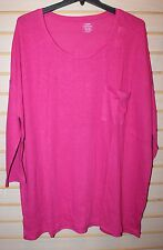 NEW OLD NAVY WOMENS PLUS SIZE 4X 5X HOT PINK FUSCHIA KNIT TEE SHIRT TOP POCKET