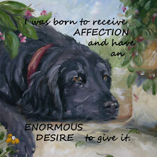 FLAT COATED RETRIEVER DOG new glossy hardboard plaque tile Sandra Coen artist