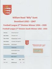 BILLY SCOTT BRENTFORD 1932-1947 RARE ORIGINAL HAND SIGNED CUTTING/CARD